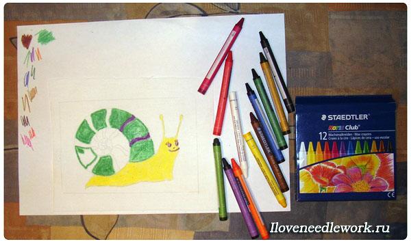 рисунки восковыми карандашами